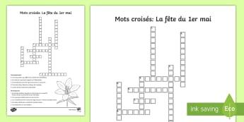 Mots croisés : La fête du 1er mai - Le 1er mai, cycle 2, cycle 3,  KS2, 1st May, fête du travail, muguet, labour day, mots croisés, cr