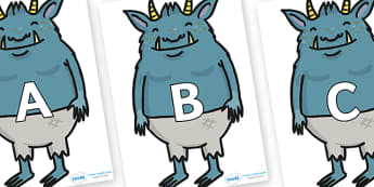 A-Z Alphabet on Trolls - A-Z, A4, display, Alphabet frieze, Display letters, Letter posters, A-Z letters, Alphabet flashcards