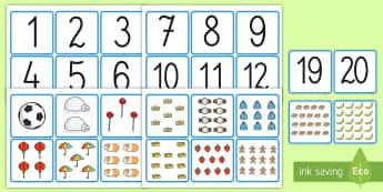 Numerele de la 1 la 20 Cartonașe pereche - numerele 1-20, română, matematică, numerație, numerele, cifre, numărăm, jocuri numerice, jocur