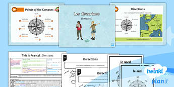 French: This is France!: Directions Year 6 Lesson Pack 3 - french, languages, directions, compass, France