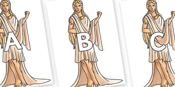 A-Z Alphabet on Hera - A-Z, A4, display, Alphabet frieze, Display letters, Letter posters, A-Z letters, Alphabet flashcards