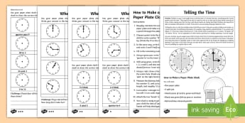 Year 2 Maths Telling the Time Homework Activity Sheet - clock, quarter, past, half past, o'clock, 5 minute, worksheet, differentiated, analogue
