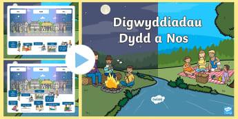 Pŵerbwynt Dydd a Nos - trefnu, oder, brecwast, breakfast, diwrnod, day, ysgol, school, chwarae, play, amser te, tea time.,W