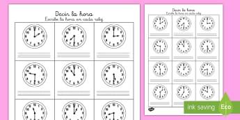 Ficha de actividad: Decir la hora - En punto, y media - la hora, hora, tiempo, en punto, y media, reloj, relojes, analógicos, analógico, ficha, mates, mat