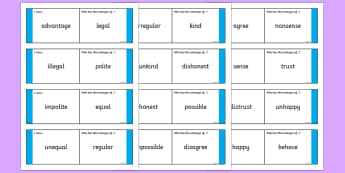 Antonyms with Prefixes Loop Cards - prefixes, antonyms, antonym loop cards, prefix loop cards, ks2 loop cards, ks2 literacy, prefixes and antonyms