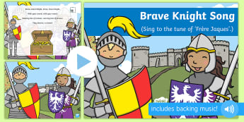 Brave Knight Song PowerPoint - knights, kings, queens, princesses, princes, royalty, medieval, action songs, singing time, nursery