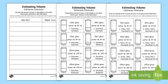 Estimating Capacity Activity Sheet - English/Romanian - New Zealand Maths , worksheet, worksheet, litres, millilitres, estimate, worksheet, capacity, activi