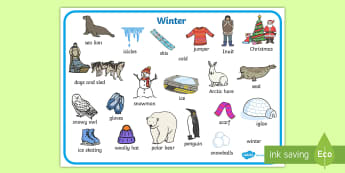 Winter Word Bank - Winter, word mat, writing aid, topic words, skis, ice skates, polar bear, whale, penguin, huskey, snow, winter, frost, cold, ice, hat, gloves