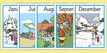 Posters d'affichage : Les mois et les saisons - Anglais LV
