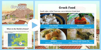 Facts About Greece: Information PowerPoint - Europe, Greece, Athens, Mediterranean, climate, coastline, islands, population, tourism, tourists, W