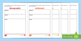 Settlement Word Wall Activity - ACHASSK069, Year 3, Vocabulary, Display, Language, Geography, Australian Curriculum, language