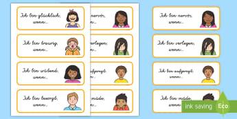 Gefühle Gesprächseinstiege Wort- und Bildkarten - Emotionen, Kommunikation, Sprechen, Gefühl, fühlen, Hilfe, German