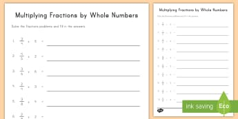 Multiplying Fraction Multiples by Whole Numbers Activity Sheet - multiples, fractions, whole numbers, multiplication, common core, fourth grade, repeated addition, i