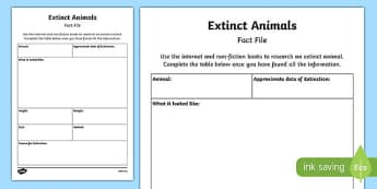 Extinct Animal Fact File Activity Sheet Pack, worksheet