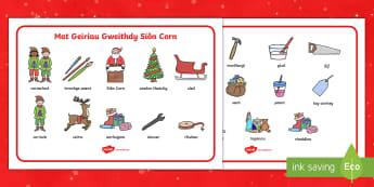 Santa's Workshop Word Mat Welsh - christmas, santa's workshop, word mat, welsh, nadolig