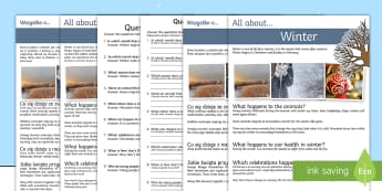 Winter Differentiated Reading Comprehension Activity English/Polish - Winter Comprehension Differentiated Worksheets - winter, reading, comprehension questions, answers,