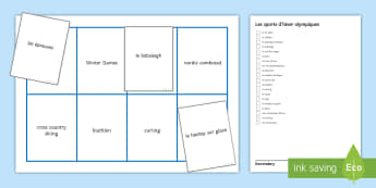 Winter Olympics Bingo French - Game, loto, olympiques, hiver, vocabulaire,French