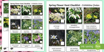 Spring Flower Hunt Checklist English/German - EAL, German, Spring, british flowers, woodlands, flowers, seasons, scavenger hunt, checklist,German-