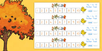 Autumn Number Track 1 10 - count, counting, counting aid, seasons