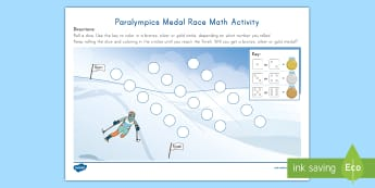 Paralympics Medal Race Math Activity - Paralympic Athlete, Alpine Skier, Number Skills, Center Activity