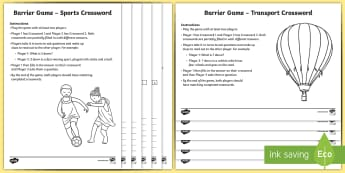 Crossword Barrier Game Activity Pack - communicative activities, crosswords, barrier games, EAL, English as an additional language, words g