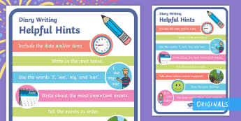 Diary Writing Helpful Hints Prompt Sheet  - KS1, Diary Help Sheet, Diaries, personal writing, recount,