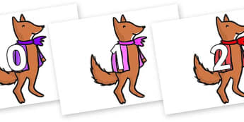 Numbers 0-50 on Small Fox 4 to Support Teaching on Fantastic Mr Fox - 0-50, foundation stage numeracy, Number recognition, Number flashcards, counting, number frieze, Display numbers, number posters