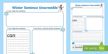 Winter Sentence Unscramble Worksheets - winter, sentence, game