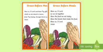 Grace Before Meals A4 Display Poster - CfE Catholic Christianity, prayers, Grace Before Meals, Grace After Meals,Scottish