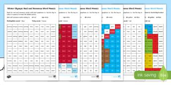 Winter Olympics Phase 4 Phonics Mosaic Worksheet / Activity Sheets - Korea, Sports, Decode, Blend, Digraphs