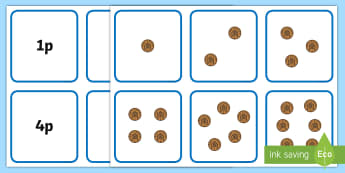 Money Matching Cards (1p to 10p) - Money, coins, pounds, pence, foundation numeracy, coin, pay, matching cards, matching, game, shop, addition, prices, price