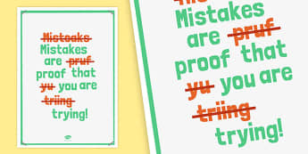 Mistakes are Proof That You Are Trying Poster - poster, display