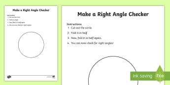 Right Angle Checker Activity Sheet - CfE, Numeracy, Mathematics, first level, shape, position, movement, right angles, angles, cutting, t