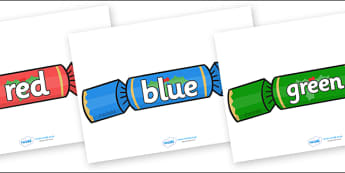 Colour Words on Christmas Crackers - Christmas, xmas, colour words, cracker, colour display, colour posters, colour, display, poster, posters, colour mixing, black, white, red, green, blue, yellow, orange, purple, pink, brown