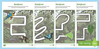 Rainforest Themed Pencil Control Path Activity Sheets - rainforest, pencil control path, pencil, control, path, activity