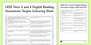 2014 Curriculum LKS2 Years 3 and 4 Reading Assessment Target Sheet