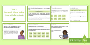 Year 6 Decimal Place Value Maths Mastery Challenge Cards - Year 6 Maths Mastery, Year 6, Y6, decimals, decimal place, place value, extension, task, tasks, chal