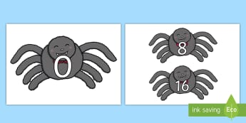 Counting in 8s Display Poster  - Counting in 8s (on spiders) - Counting, Numberline, Number line, Counting on, Counting back, even nu