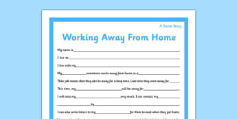 Social Situation Sheet Parents Working Away From Home Primary - social story, parents, home