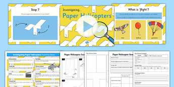 Paper Helicopter Investigation Pack - Air resistance, gravity, spinner, rotor blades, research, physics