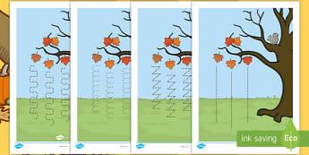 Feuilles d'activités, la maîtrise du crayon : L'arbre d'automne - saison, temps, écrit, écureuil, capacités motrices,French