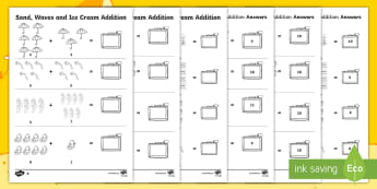 Sand, Waves and Ice Cream Addition Worksheet / Activity Sheet - ROI, Maths, Exploring our world, Aistear, story, worksheet, adding, Irish, holiday, beach, travel