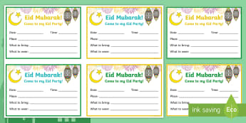 Eid Party Invitation (Version 2) Writing Template - Eid, Mubarak, party, invitation, writing, template