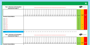 Year 1 English Grammar and Punctuation Assessment Spreadsheets - english, grammar, punctuation, assessment, spreadsheets