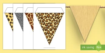 Safari Animal Patterns Themed Display Bunting - safari, safari bunting, safari animal bunting, safari animal patterns bunting, safari animal skins bunting