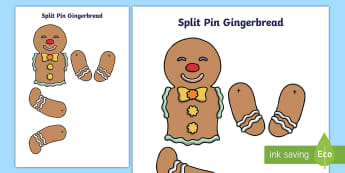 Split Pin Gingerbread Man  - split pin, wet play, make, craft, ginger bread, gingerbread