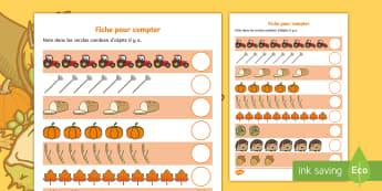 Feuille d'activités pour compter : L'automne - mathématiques,  numération, nombres, cycle 1, cycle 2,
