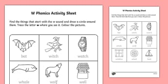 w Phonics Worksheet / Activity Sheet-Irish, worksheet