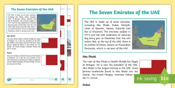 The Seven Emirates of the UAE Fact Sheet - UAE, Emirates, Abu Dhabi, Dubai, Ajman, sharjah,  Umm al Quwain, Arab