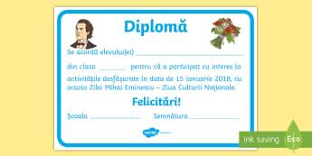 Ziua Mihai Eminescu Diplomă - Eminescu, Ziua Culturii, 15 ianuarie, diploma, recompense, poezii, Romanian